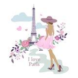 我爱巴黎 艾菲尔铁塔和妇女的图象 也corel凹道例证向量 巴黎和花 巴黎,法国时尚时髦的illustrat 免版税库存图片