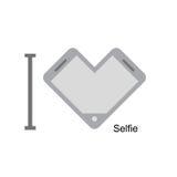 我爱selfi 电话作为心脏的标志 也corel凹道例证向量 我 免版税图库摄影