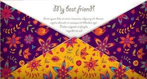 我的与五颜六色的花卉样式的最好的朋友卡片 免版税库存照片