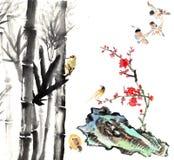 我的书刊上的图片--李子开花、竹子和鸟 免版税库存图片