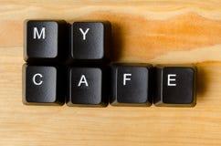 我的咖啡馆词 免版税库存照片