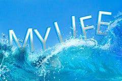 我的在海浪的生活文本 库存图片