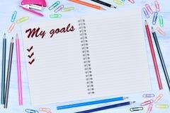 我的在笔记本的目标词 库存图片