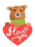 我的感觉 与心脏和文本的可爱的狗我爱你 与逗人喜爱的动物的贺卡 免版税库存照片