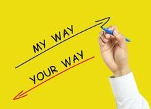 画我的方式和您的方式概念的商人手 免版税库存照片