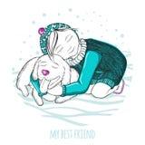 我的最好的朋友 拥抱一条好狗的小女孩 图画递她的温暖的妇女年轻人的早晨内衣 冬天照片 落的雪 库存图片