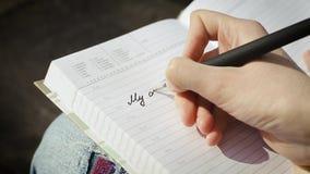我的每日计划 一个创造性的年轻人的手在笔记薄或计划者页创造一个纪录  股票视频