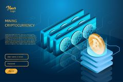 我的Bitcoin cryptocurrency过程属于 Blockchain技术 免版税库存照片