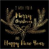 我祝愿您圣诞快乐和新年快乐 免版税库存照片
