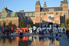 我阿姆斯特丹标志 库存图片