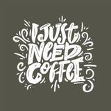 我需要咖啡词组手拉的字法 库存例证