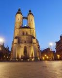 我们亲爱的夫人市场教会在哈雷,德国 免版税图库摄影
