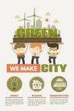 我们做绿色城市的绿色城市概念 免版税图库摄影