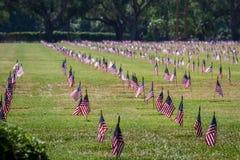 我们旗子在一座退伍军人公墓在退伍军人日 免版税库存图片