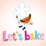 我们烘烤与厨师字符的装饰类型 图库摄影