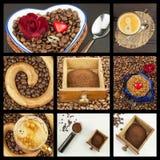 我们爱咖啡 背景豆黑色关闭咖啡拼贴画杯子递查出的占去 做广告为咖啡销售  咖啡的不同的类型详细的看法  装饰商店co 免版税库存图片