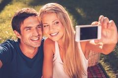 我们爱selfie! 免版税库存照片
