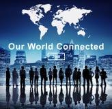 我们的世界被连接的社会网络互联概念 免版税库存图片