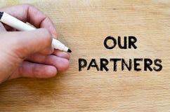 我们的伙伴文本概念 免版税库存图片