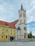 我们的匈牙利教会的夫人在Kezsthely镇,匈牙利 库存照片