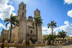 我们的圣洁Assumptio,巴里阿多里德,尤加坦,墨西哥的夫人大教堂  免版税库存图片