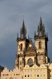 我们的在TÃ ½ n,布拉格前的夫人教会,捷克语 免版税库存照片
