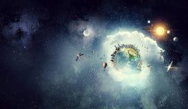 我们的地球行星 混合画法 混合画法 免版税库存照片