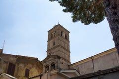 我们的夫人大教堂看法在Trastevere 库存图片