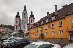 我们的夫人寺庙在城市Mariazell,朝圣站点天主教徒的 奥地利 库存照片