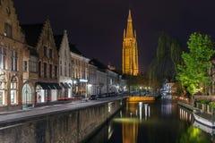 我们的夫人教会,布鲁日,比利时 免版税库存照片