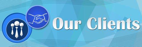我们的客户蓝色摆正背景 库存例证