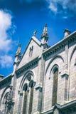 我们的念珠的夫人大教堂反对天空的 卢尔德,法国, Hautes比利牛斯 图库摄影