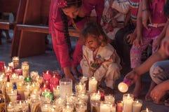 我们的瓜达卢佩河的夫人的蜡烛 库存图片