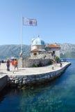 我们的礁石的夫人海岛在Perast,黑山附近 库存图片
