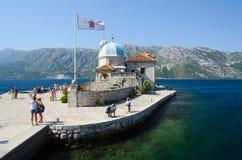 我们的礁石的夫人海岛,黑山 免版税库存照片