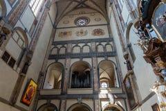 我们的雪的夫人教会的内部在布拉格 免版税库存图片
