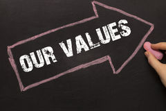 我们的价值-有箭头的黑板在黑色 库存照片