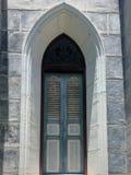 我们的Cathedral夫人教会诞生木窗口  库存照片