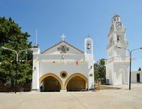 我们的Tsambika夫人修道院。罗得岛。希腊。 库存图片