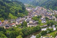 我们的Vianden和的河,卢森堡城市 免版税图库摄影