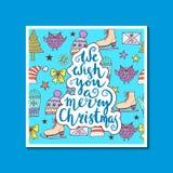 我们祝愿您圣诞快乐-引述在被仿造的背景 免版税库存图片