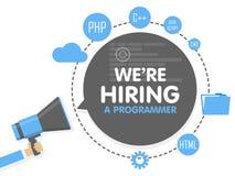 我们聘用一位程序员 扩音机概念传染媒介例证 横幅模板,广告,查寻雇员,聘用 向量例证