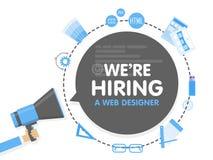 我们雇用一位网设计师 扩音机概念传染媒介例证 横幅模板,广告,查寻雇员,聘用 向量例证