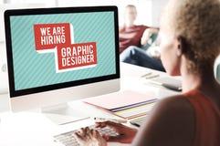 我们雇用工作Applicaion创造性的职业设计师Concep 免版税库存照片