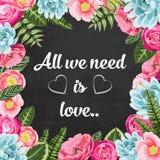 我们需要的所有是与被绘的花的爱pahrse 库存图片