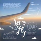 我们飞行印刷航空公司海报 库存图片