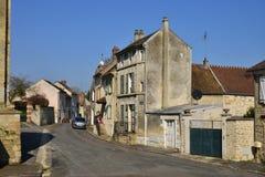 我们,法国-行军14 2016年:美丽如画的村庄在冬天 免版税库存照片