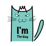 我` m国王Typography With Crazy Cat 免版税库存图片