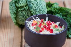戒毒所红叶卷心菜红萝卜石榴在白色木背景的沙拉和香菜选矿 顶视图,拷贝空间 免版税图库摄影