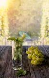 戒毒所水生薄荷、葡萄汁和冰在一块玻璃在一绿色背景bokeh和葡萄在一个晴天 垂直的框架 免版税库存照片